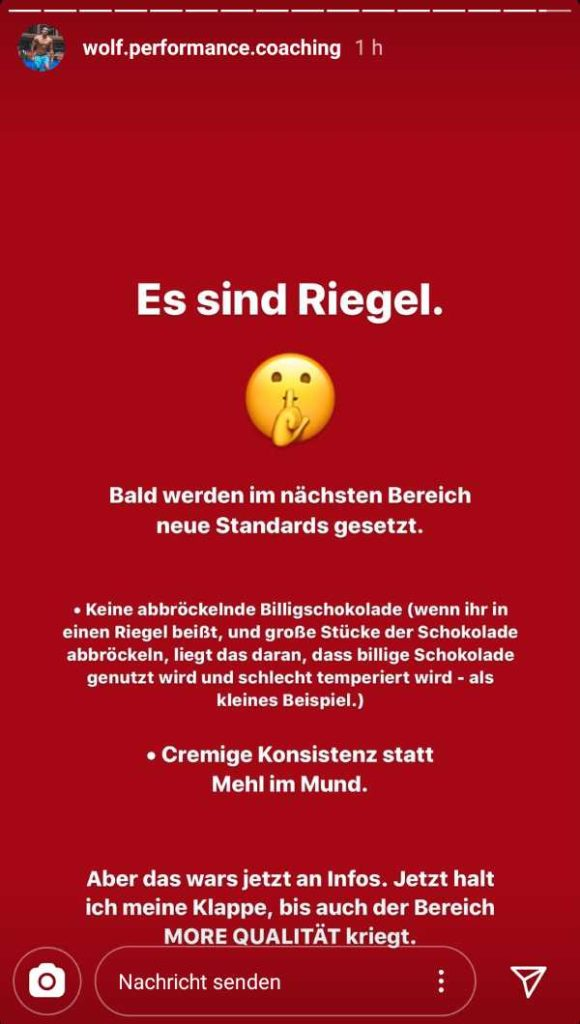 MORE NUTRITION Riegel Ankündigung Instagram